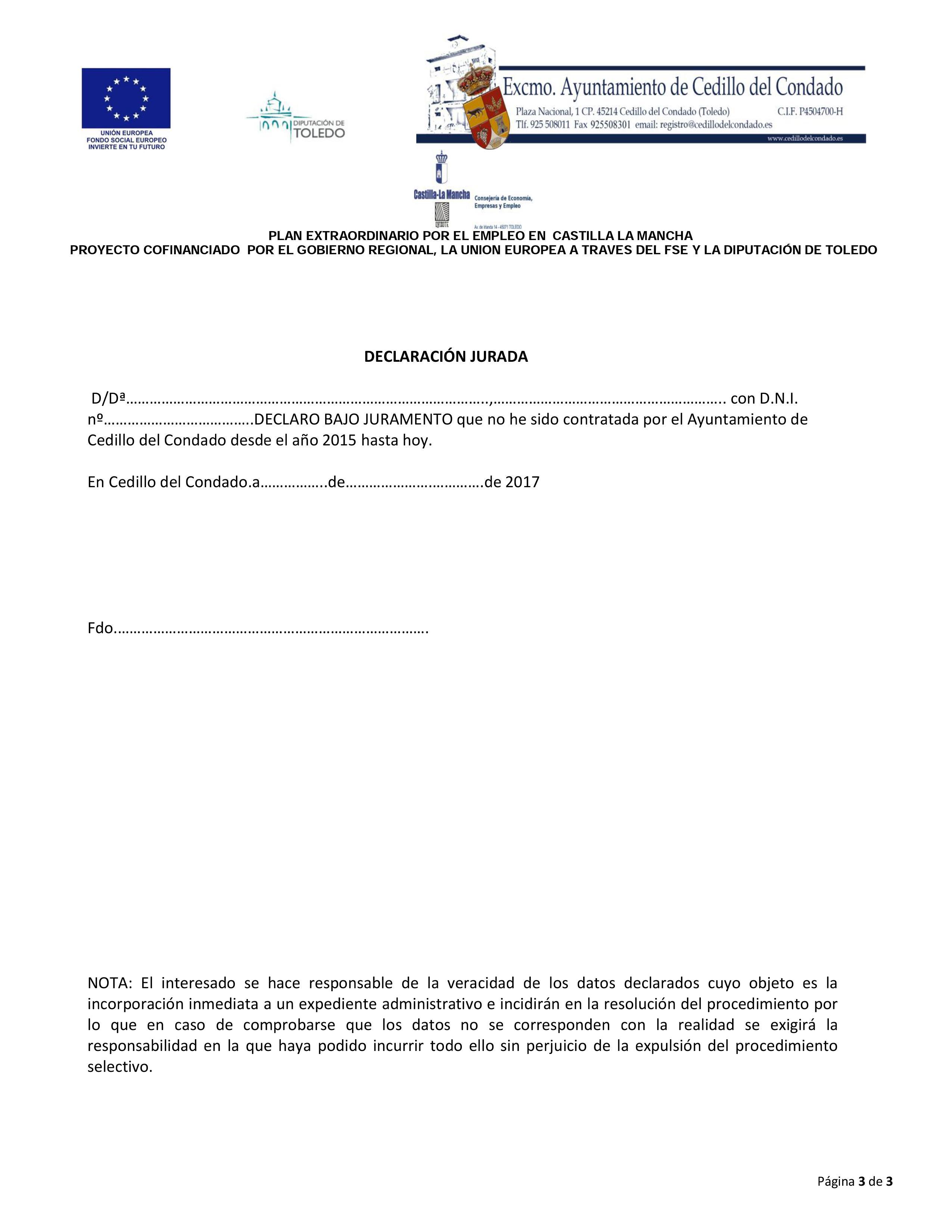 Ayuntamiento de cedillo del condado convocatoria plan - Oficina virtual inem ...