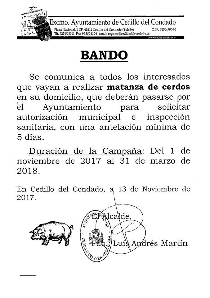 BANDO MATANZA DE CERDOS