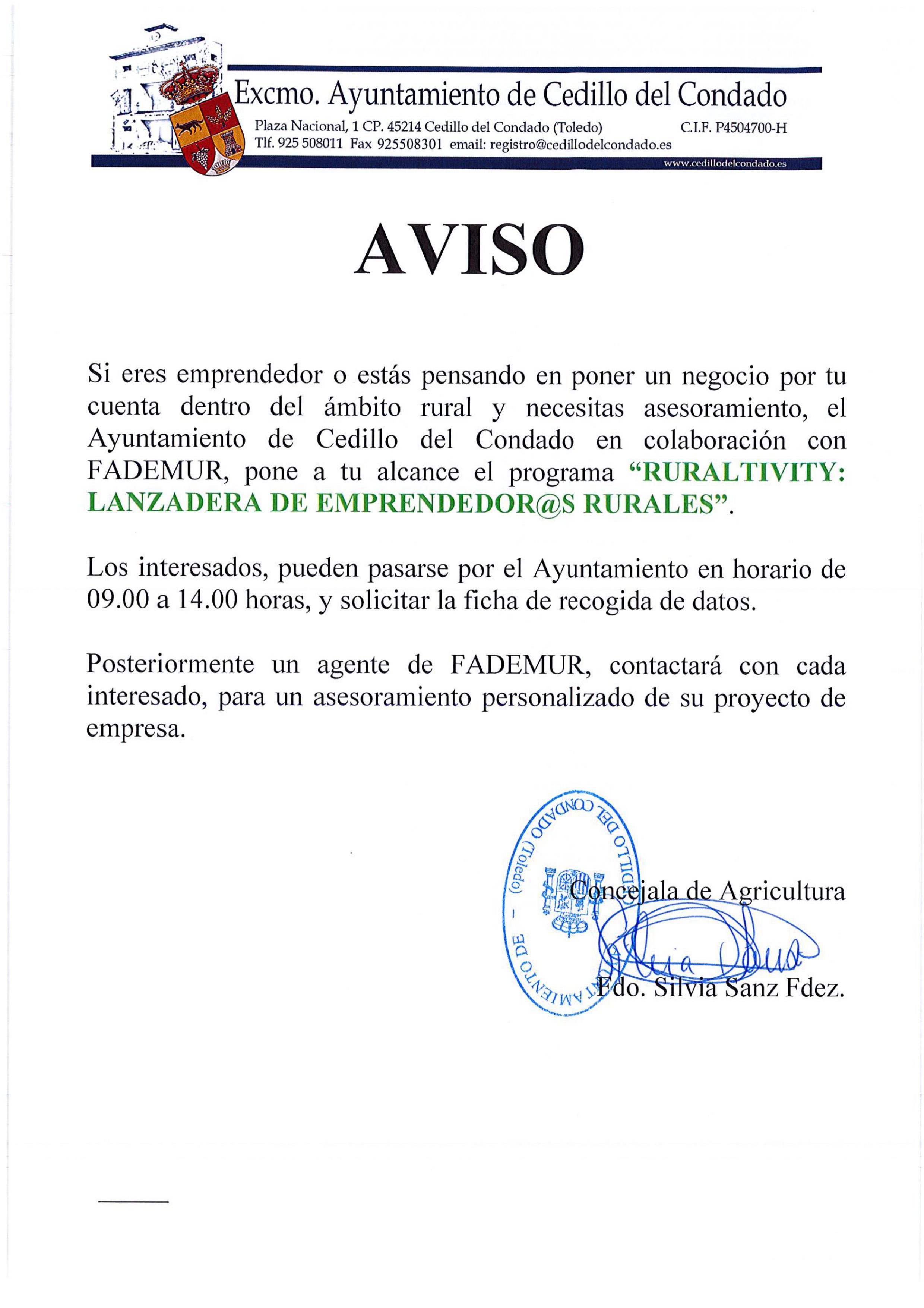 Ayuntamiento de cedillo del condado programa ruraltiviti - Oficina virtual inem ...